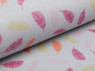Beschichtete Baumwolle by Poppy - farbige Federn -  grau