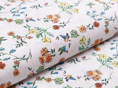 Webware Popeline Baumwolle Digitaldruck - Blumenranken und Vögel - weiß/orange
