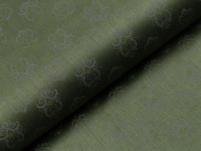 Merzirisierte Baumwolle Romantico - kleine Ornamente - Flaschengrün