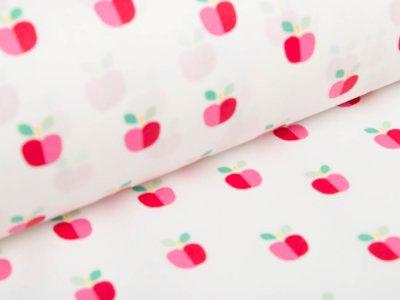 Beschichtete Baumwolle by Poppy - kleine Äpfel - weiß
