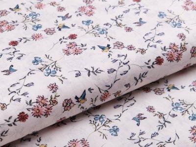Webware Popeline Baumwolle Digitaldruck - Blumenranken und Vögel - weiß/braun