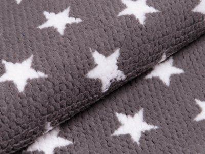 Fleece - 3D Noppen - Sterne - grau