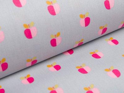 Beschichtete Baumwolle by Poppy - kleine Äpfel - grau