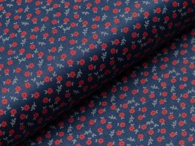 Merzirisierte Baumwolle Romantico - kleine Blumen - dunkles blau