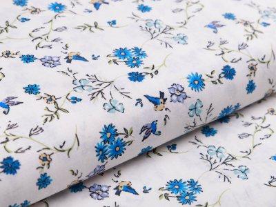 Webware Popeline Baumwolle Digitaldruck - Blumenranken und Vögel - weiß/blau