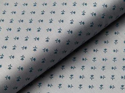Merzirisierte Baumwolle Romantico - kleine Stilblumen - helles grau