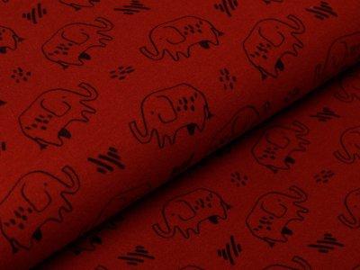 Angerauter Sweat Softtouch by Poppy - Elefanten - steinrot