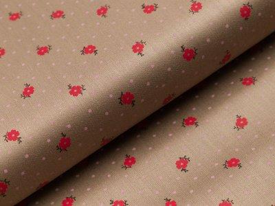 Merzirisierte Baumwolle Romantico - Blumen und Pünktchen - helles braun
