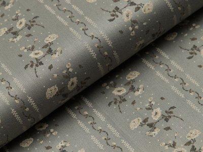 Merzirisierte Baumwolle Romantico - Blumen und Streifen - grau