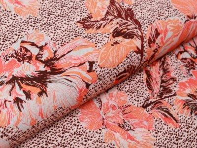 Webware Viskose-Crepe Fibre Mood Digitaldruck - Blumen - orange
