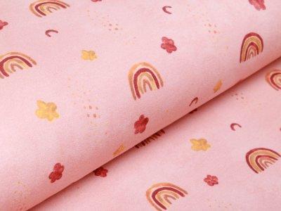 Leicht Angerauter Sweat Digitaldruck by Poppy - Regenbögen - rosa