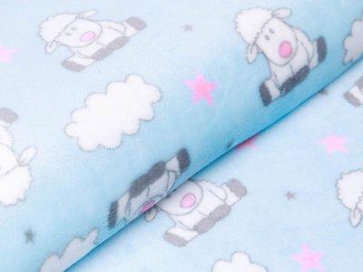 Wellnessfleece Peggy - kleine Schäfchen und Wolken - helles blau