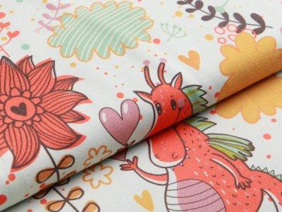 Jersey - niedliche Drachen und Blumen - helles mint