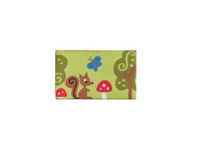 Webetikett Farbenmix - Fliegenpilz und Eichhörnchen - grün