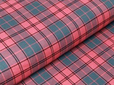 Webware Viskose Baumwolle Twist - Karos 2 cm x 2 cm - rosa/grün