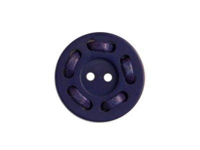Runder Knopf mit Lederband ca. 25mm - blau