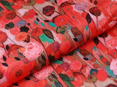 Italienische Webware Baumwollsatin Brest - Ranunkeln - rot
