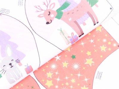 Webware Baumwolle Digitaldruck PANEL ca. 70 x 145 cm für Behelfsmasken - 12 verschiedene weihnachtliche Motive - weiß
