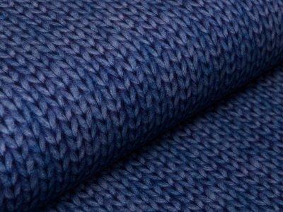Leicht Angerauter Sweat Digitaldruck by Poppy - Strickoptik - jeansblau