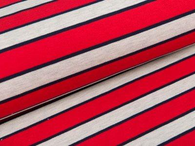 Sweat French Terry - Streifen - grau/rot/blau