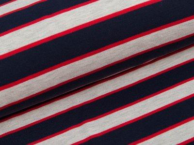Sweat French Terry - Streifen - grau/blau/rot