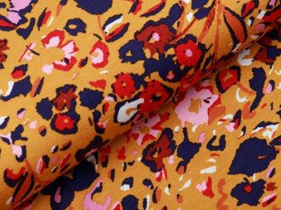 Jersey Viskose Digitaldruck Stenzo - Blumenmeer - ocker