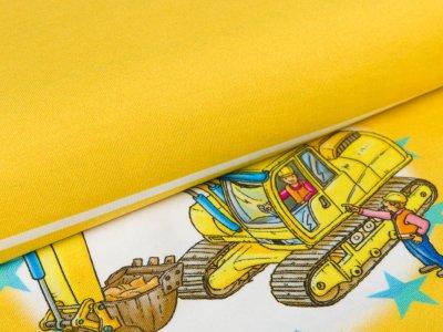 Jersey Wimmelbuch PANEL ca. 55 x 150 cm - Vorsicht Baustelle - gelb