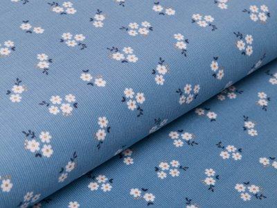 Babycord/Feincord mit Glitzer by Poppy - Blumen - blau