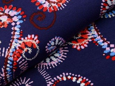 Jersey Viskose Digitaldruck Stenzo - verschlungenes Muster - marine