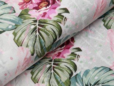 Jersey Digitaldruck Stenzo - traumhafte Blüten und Blätter - grau