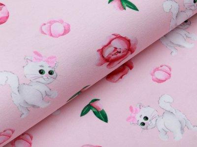 Jersey Digitaldruck Stenzo - süße Kätzchen und Blumen - rosa