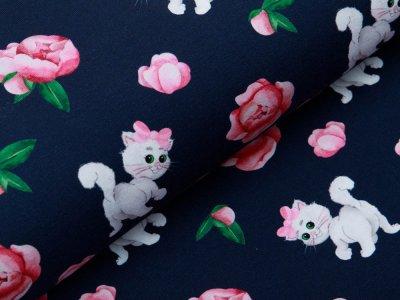 Jersey Digitaldruck Stenzo - süße Kätzchen und Blumen - marine