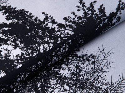 Sweat French Terry Bordürenstoff 100 cm x 155 cm - Wyld Forest by Thorsten Berger - wilder Wald - grau