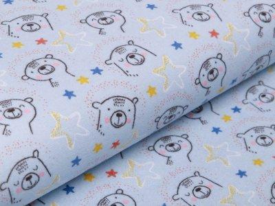 Flanell Baumwollstoff by Poppy - süße Bären - blau