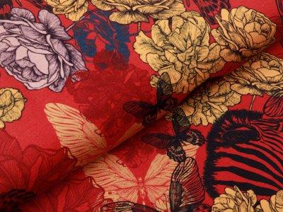 Jersey Digitalprint Stenzo - Schmetterlinge und Zebras im Blumenbeet  rot