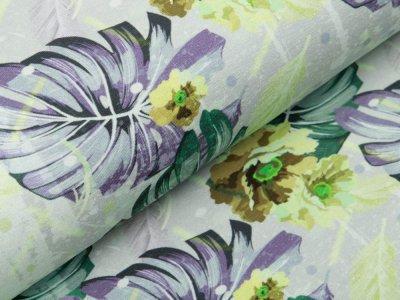 Jersey Digitaldruck Stenzo - traumhafte Blüten und Blätter - grün