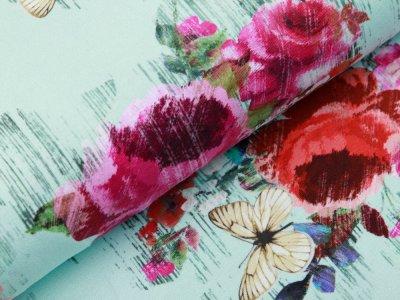 Jersey Digitaldruck Stenzo - Florales-Muster und Schmetterlinge auf Holzoptik - mint