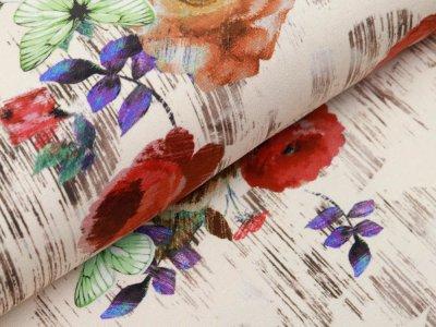 Jersey Digitaldruck Stenzo - Florales-Muster und Schmetterlinge auf Holzoptik - beige
