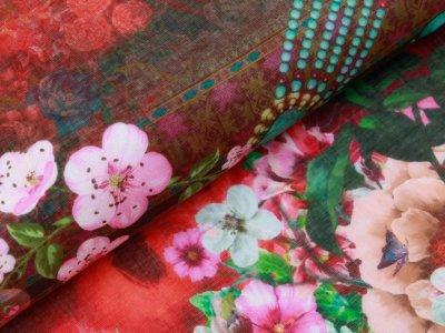 Webware Voile Kaftan Digitaldruck Stenzo PANEL ca. 200 x 150 cm - Blumen und verschiedene Muster - rot