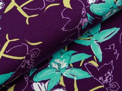 Jersey Viskose Digitaldruck Stenzo - Lilien - aubergine