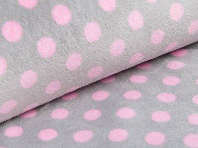 Fleece - Punkte - grau/pink
