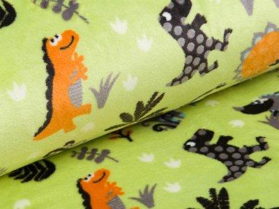 Fleece Flanell - Dinosaurier - grün