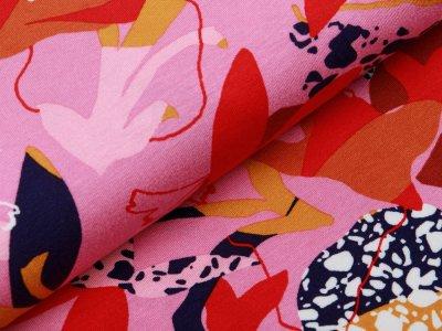 Jersey Viskose Digitaldruck Stenzo - Retro Blumen - rosa
