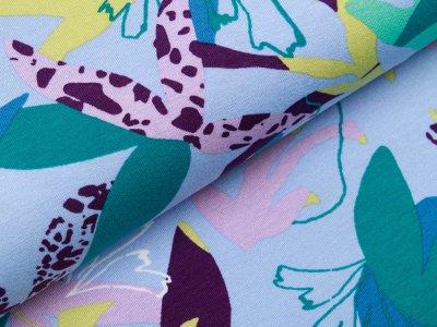 Jersey Viskose Digitaldruck Stenzo - Retro Blumen - blau