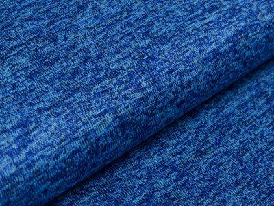 Angerauter Strickstoff  - meliert kobaltblau