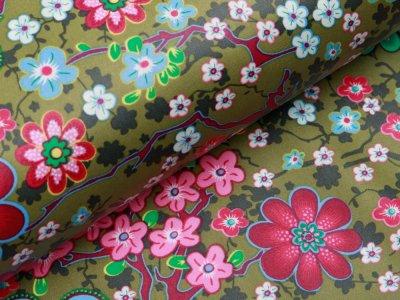 Beschichtete Webware Baumwolle ILJA - Retro Blumen - khaki