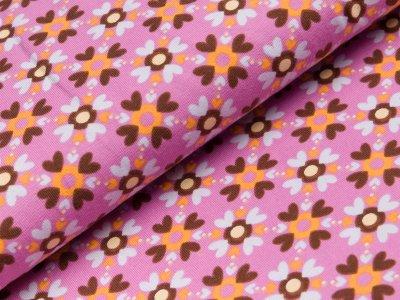 Jersey Lillestoff Lucky Hearts - Blumen aus Herzen - helles lila