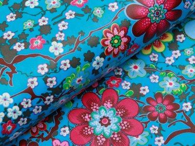 Beschichtete Webware Baumwolle ILJA - Retro Blumen - petrol