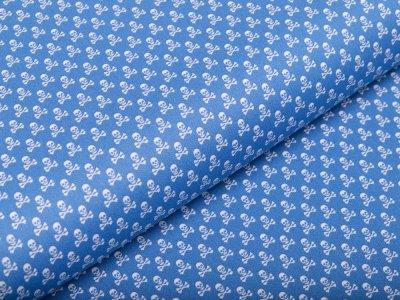 Webware Baumwolle - kleine Totenköpfe - jeansblau