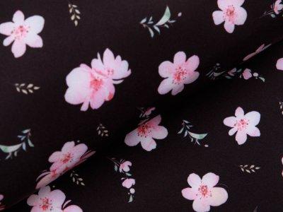 Softshell Jackenstoff Digitaldruck - Kirschblüten - schwarz